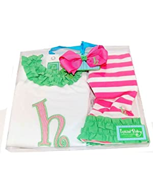Baby Girl Pink Initial Tunic Leggings and Hair Bow Set