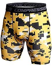 QiFei Baselayer Compressieshorts voor heren, voor fitness, sport, korte broek, sneldrogend, legging, loopbroek, rekbaar, joggingbroek, korte hipster zwembroek
