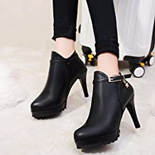 HSXZ Women's Shoes PU Winter Fall Comfort Boots Platform Round Toe Booties/Ankle Boots for Casual Red Black