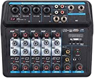 Meshin Sound Mixing Console Record 48V 4/6 Channels Audio Mixer with USB Mic Interface for Voice Recording Liv