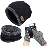 Affei Winter Beanie Hat Scarf Set Warm Knit Hat Thick Knit Skull Cap Touch Screen Glove Unisex