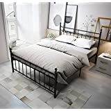 TEMMER Reinforced Metal Bed Frame Queen Size with Headboard and Stable Metal Slats Boxspring Replacement/Footboard Single Platform Mattress Base, Black (Queen, Black)