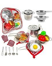 PEGALIFE 17-delig keukenspeelgoed, accessoires, kinderkeuken, kookgerei met potten en pannen, speelset van roestvrij staal, speelgoed voor kinderen, keukenspeelgoed voor meisjes en jongens
