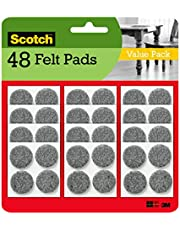 Scotch Brand Heavy Duty Felt Pads, Value Pack, Great for protecting linoleum floors, Round, Gray, 1-Inch Diameter, 8 Pads/Pack, 6-Packs (48 Total)