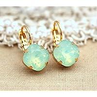 Bridal Green Mint and Gold Drop Dangle Earrings, Swarovski Crystal Bridesmaids Gifts, Handmade Wedding Jewelry