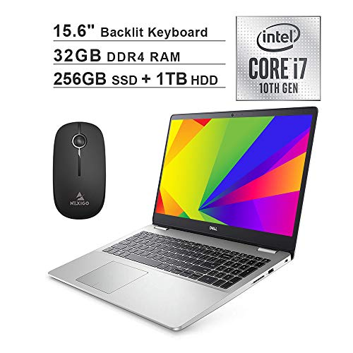2020 Dell Inspiron 15 5593 15.6 Inch FHD 1080P Laptop (Intel i7-1065G7 up to 3.9GHz, 32GB RAM, 256GB SSD (Boot) + 1TB HDD, Backlit KB, FP Reader, Win10) + NexiGo Wireless Mouse Bundle