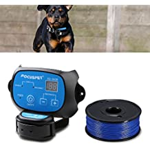 In Ground Dog Fence System,FOCUSPET Outdoor Invisible Electric Wired Dog Fence 655ft Remote Electronic Dog Fence Kit Rechargeable & Waterproof Receiver Collar Beep/Tone/Shock for Small Large Dog