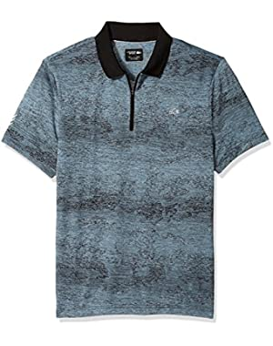 Men's Short Sleeve Jersey Tech All Over Print Zip Placket Polo, Dh3133