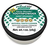 Dirty Mouth Organic Sweet Spearmint Toothpowder #1 Rated Best All Natural Dental Cleanser - Gently Polishes! Feel Cleaner, Stronger and Whiter Teeth- Primal Life Organics 1oz 1oz)
