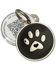 PetDwelling Advanced Black Paw QR Code Pet ID Tag w/Online Pet Profile/Scanned GPS Location(Best Deal)