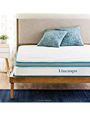 Linenspa 8 Inch Memory Foam and Innerspring Hybrid Mattress with Linenspa 14 Inch Folding Platform Bed Frame