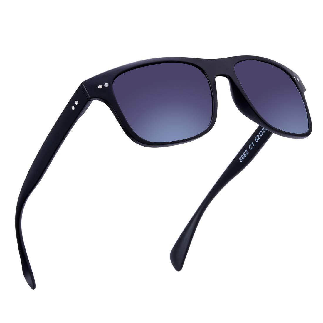 Black  Gradient Black Lenses BRUWEN Night Driving Glasses Wayfarer Sunglasses for Men Women Polarized Uv Predection Hd Lens,UltraLight Fashion Square