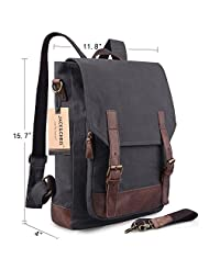 Jack&Chris®Canvas Leather Backpack Rucksack Laptop Bag 2 Way to Carry,MC6914 (Grey)