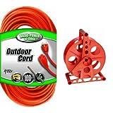 Coleman Cable 02309 16/3 Vinyl Outdoor Extension Cord, Orange, 100-Feet & Bayco K-100 150-Foot Cord Reel