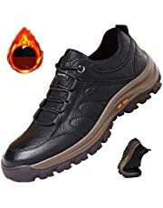 Non-Slip Outdoor Hiking Shoes Men's Platform Sports Shoes Tooling Shoes,Breathable Non-Slip Sneakers Leather Low Cut Boots,Work Sneakers for Outdoor Backpacking Trekking Walking Trails