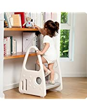 Toddler Step Stool, Kids Two Step Learning Tower for Bathroom Sink, Toilet Potty Training, Kitchen Counter, Children Step Up Learning Helper with Safety Handles and Non-Slip Pads,Gray