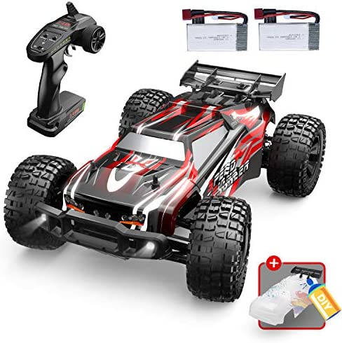 DEERC 9206E Remote Control Car 1:10 Scale Large RC Cars 48+ kmh High Speed for Adults Boys Kid,Extra Shell 4 wheel drive 2.4GHz Off Road Monster RC Truck,All Terrain Crawler Gift with 2 Battery for 40+ Min Play