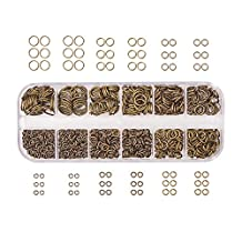 Pandahall Elite Brass Promo Beads 4-10mm Diameter Close but Unsoldered Jump Rings in 1 Box Antique Bronze by Pandahall