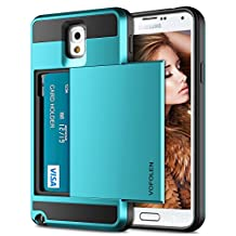 Galaxy Note 3 Case, Vofolen Galaxy Note 3 Wallet Cover Carrying Case Armor Slim Fit Protective Shell Hard PC Case + Soft TPU Bumper Cover with Card Holder Slot for Samsung Galaxy Note 3 (Light Blue)