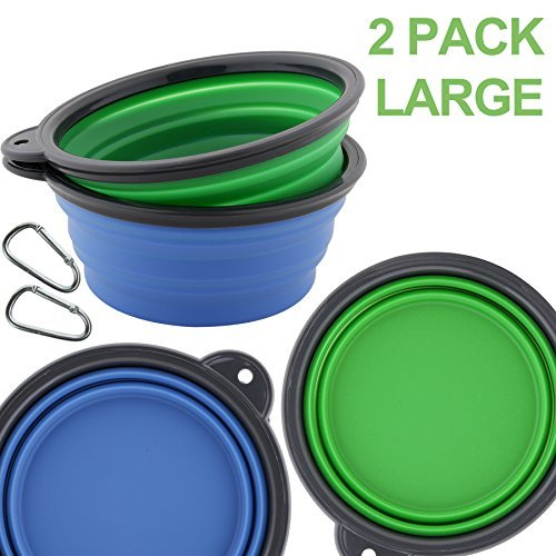 Large-2Pack(bluee+Green) Roysili Extra Large Silicone Collapsible Dog Bowl (5 Cups,40oz), Foldable Dog Travel Water Bowl, BPA Free Dog Travel Bowl Portable Camping Bowls for Dog Cat Food & Water bluee 2 Pack