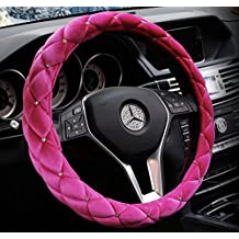 """Hot Pink Color Winter Short Plush Car Steering Wheel Cover Crystal Rhinestone Auto Fur Steering-Wheel Covers Cases Universal Size 15"""""""