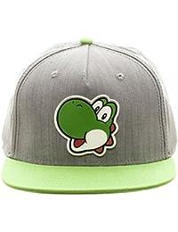 Super Mario Bros - Yoshi Rubber Logo Snapback Hat, Gray/Green, One Size
