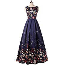 Kiss Rain Women's Floral Print Evening Prom Dresses Ball Gown with Sleeves