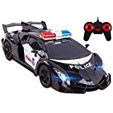 """Police RC Car Toy Super Exotic Large 12"""" Remote Control Sports Car with Working Headlights, Police Lights, Race Car Toy (Black)"""