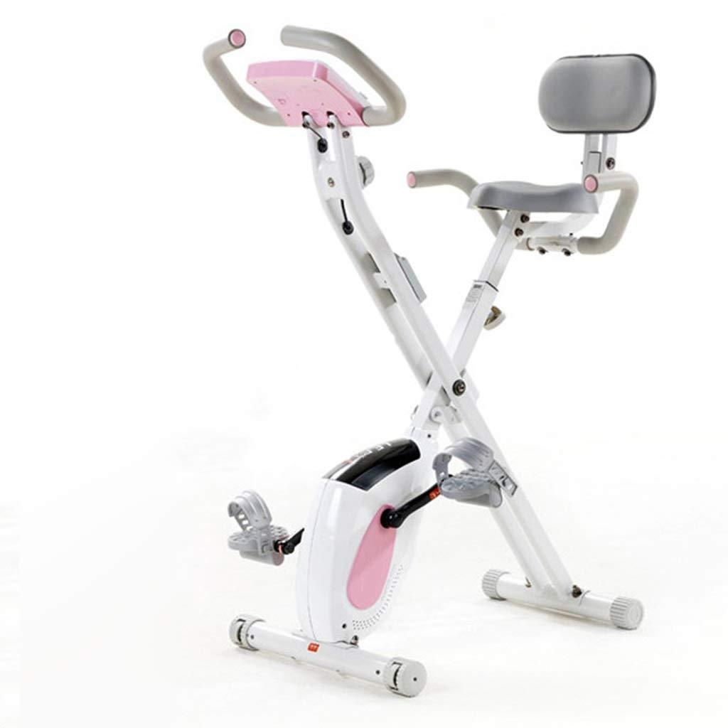 BRIJHT 折り畳み式のフィットネスバイク、8レベル調整可能なスポーツ用品、携帯電話/ブックサポート運動器具、室内有酸素運動、フィットネス機器 (Color : ピンク) ピンク