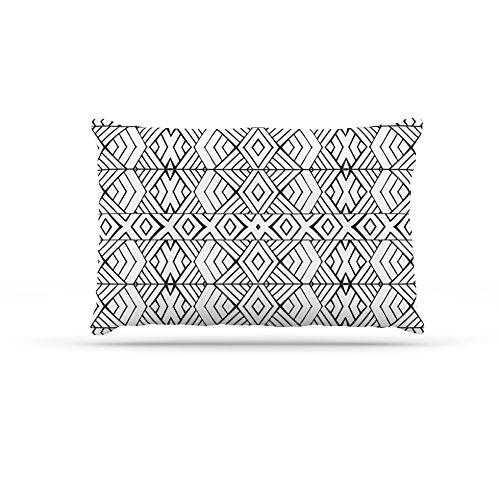 Large 30\ Kess InHouse Pom Graphic Design Tribal Expression  Black White Dog Bed