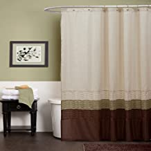 Triangle Home Fashions Lush Decor Mia Shower Curtain, Green/Brown