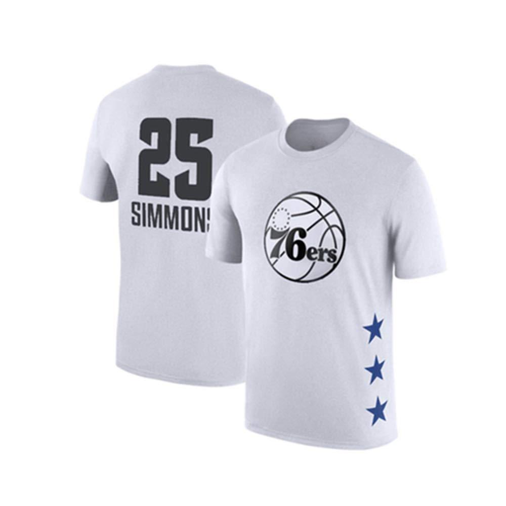 blanc15 XXXL WSX T-Shirt De Basketball NBA All-Star à Manches Courtes, Chemise étudiante, Haut Imprimé, Manches Moitié Supérieure Lakers,blanc5-M