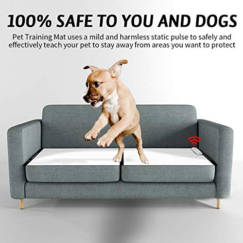 morpilot Pet Training Mat, Shock Mat for Cats Dogs, 30 x 16 Inches Pet Shock Mat with 9V Battery, 3 Training Modes, Smart Protection System, Repellent Mat Keep Pets Off Furniture Couch Sofa