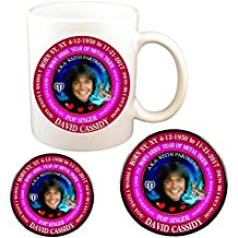 David Cassidy 70's Singer Cup + Magnet + Pin, Astrology Aries Zodiac Metal Tiger
