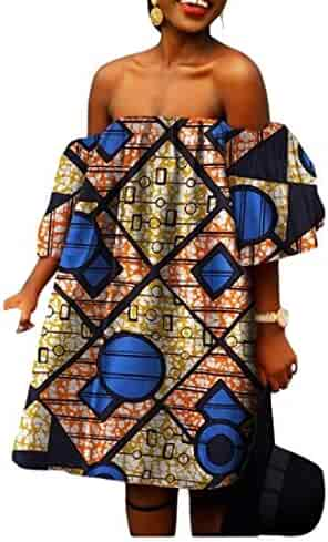 0589a249bff Winwinus Womens Batik African Print Shoulder Off Casual Party Evening Dress