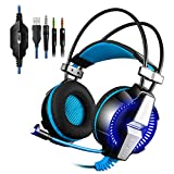 PS4 Gaming Headset Kingtop Xbox One LED Lighting Computer Headphone with Mic Stereo Bass for PlayStation4 Xbox One PC Tablet Laptop Mobile Phones Smartphones