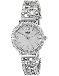 Burgi Womens BUR140SS Swarovski Crystal Filled Silver Bracelet Watch
