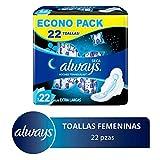 Always Toallas Higiénicas con Protección Total, Paquete de 22 Piezas