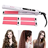 inkint Multi-function Hair Straightener and Curler for Wet or Dry Hair Straightening Crimping with Lock Switch, 110-240 Dual Voltage