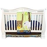 3 Piece Baby Boys Green Brwon White Safari Animals Crib Bedding Set, Newborn Jungle Themed Nursery Bed Set Infant Child Cheetah Print Zebra Giraffe Elephant Blanket Quilt, Cotton Polyester