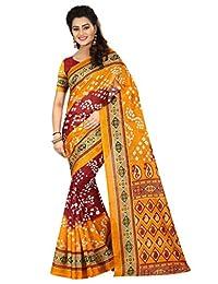Shonaya. Women's Indian Printed Bhagalpuri Art Silk Saree Sari (Yellow & Red)