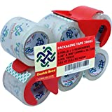 Double Bond Crystal Clear Packing Tape, 1.88 Inches x 800 Inches, 2.0Mil Thick Packaging Tape, 6 Rolls with 2 Dispenser (20602)