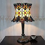 12-Inch Vintage Pastoral Gorgeous Flowers Stained Glass Tiffany Table Lamp Bedroom Lamp Bedside Lamp