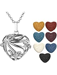 JOVIVI Antique Silver Aromatherapy Essential Oil Diffuser Necklace Flower Heart Locket Pendant with 7 Dyed Multi-Colored...
