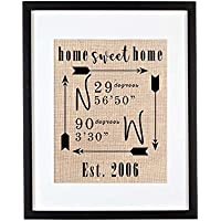 Home Sweet Home Sign, Home Sweet Home Wall Decor, Housewarming Gift, New Homeowner Gifts, GPS Coordinates Sign, Real Estate Gifts for Clients