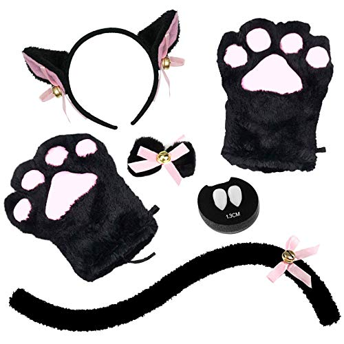 Abida Cat Cosplay Costume - 5 Pcs Set Cat Ear and Tail with Collar Paws Gloves and Vampire Teeth Fangs for Halloween
