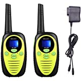 Mksutary Kids Walkie Talkie Two Ways Radio Toy Walkie Talkie for Kids 3 Miles Range 22 Channels FRS GMRS Handheld Mini Walkie Talkies for Outdoor Adventures Camping Hiking Set of 2 (Yellow)