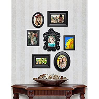 7 Piece Contemporary Black Picture Frame Set