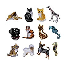 12 Pcs Cartoon Patches Animals Dog Cat Iron On Embroidered Motif Applique Decoration Patches DIY Sew on Patch for Jeans Clothing Bag
