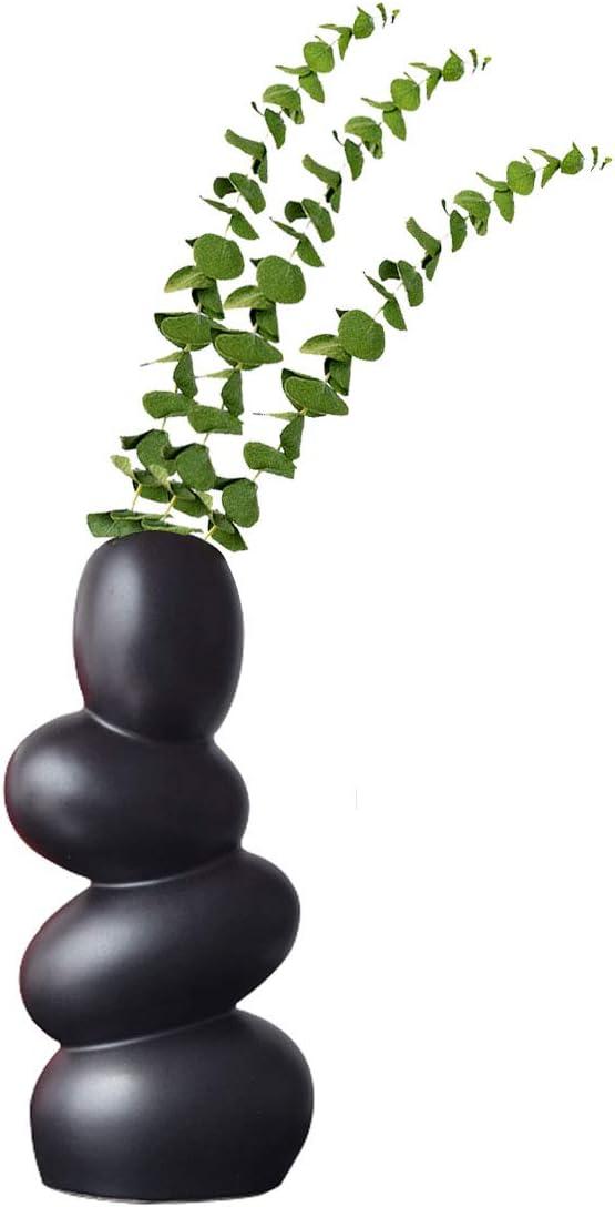 XIUWOUG Abstract Ceramic Egg Vase, Unique and Minimalist Decorative Vases, Modern Sculpture Decorative Living Room (Black)